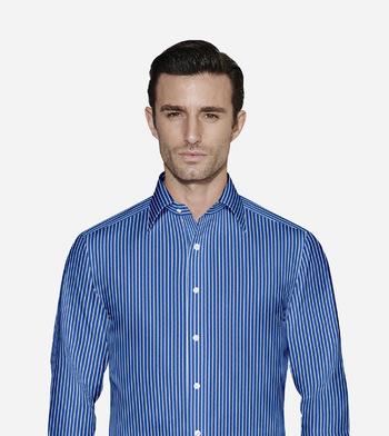 custom tailored shirts cotton polyester atlantic blue white stripe