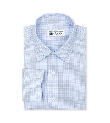 custom tailored shirts cotton polyester atlantic blue white check