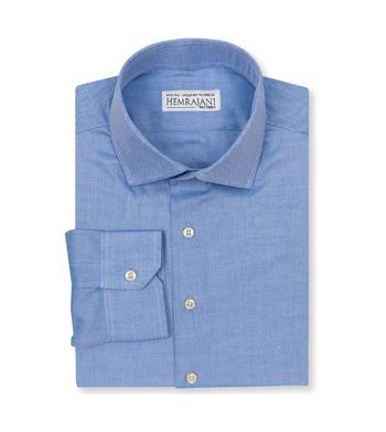 shirts cotton cambridge micro herringbone light blue semi solids