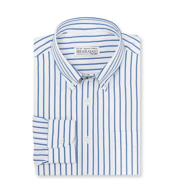 shirts cotton cobalt poplin blue white striped