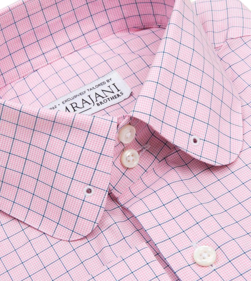 Light Pink and Azure Tattersall Pink Navy Check by Hemrajani Product Image
