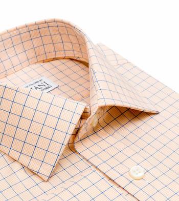 shirts cotton tangerine and blue poplin orange check
