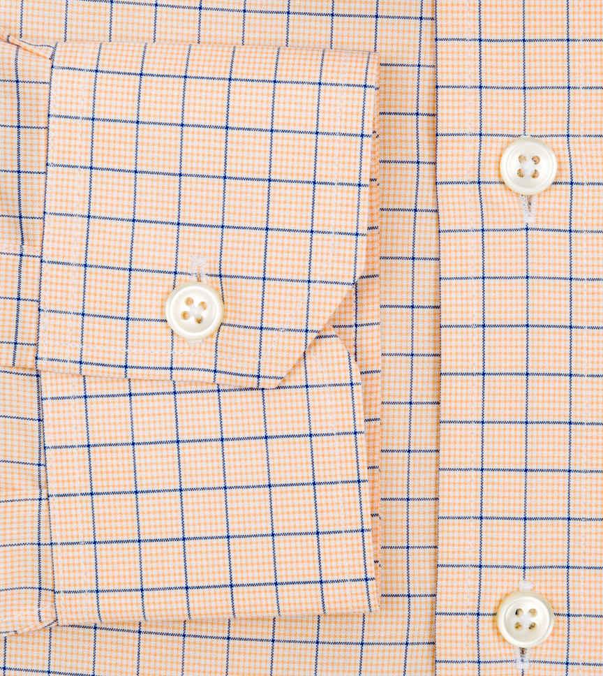 Tangerine and Blue Poplin Orange Check by Hemrajani Product Image