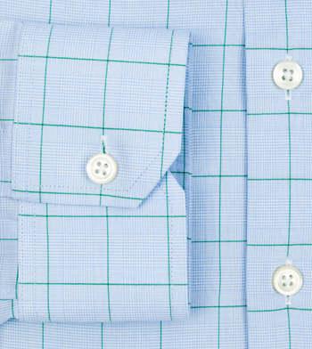 shirts cotton office blue and green poplin light blue check