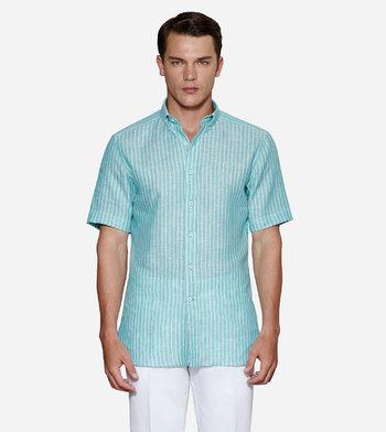 shirts linen and blends turquoise linen aqua light blue striped