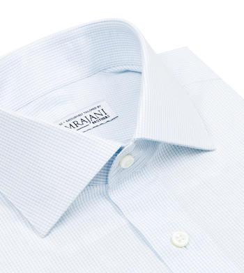 shirts cotton caribbean blue micro light blue check