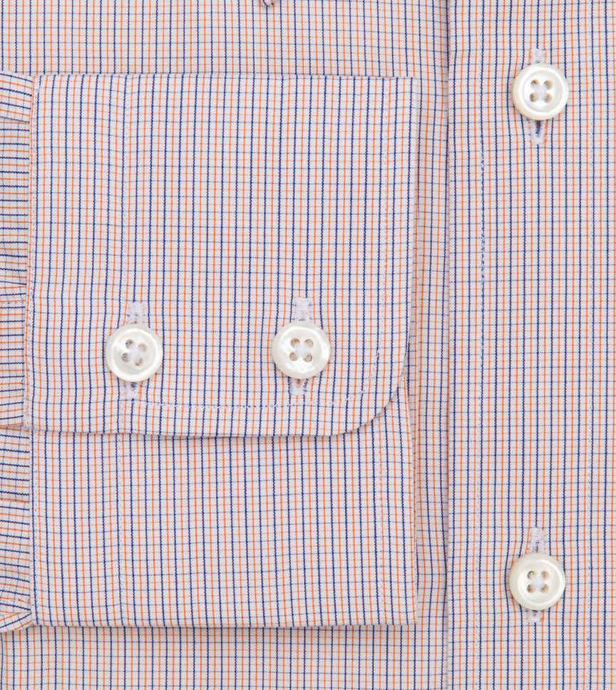 Cobalt Tiger Micro-Tattersall Orange Blue Check by Hemrajani Premium Collection Product Image