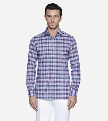 shirts cotton cobalt and orchid plaid multicolor plaid