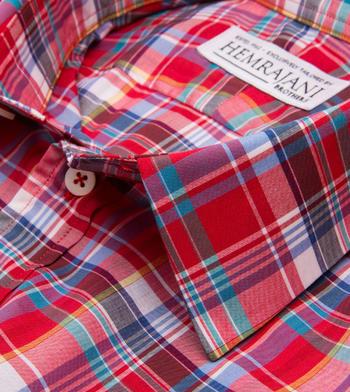 shirts cotton log cabin poplin plaid red multicolor plaid