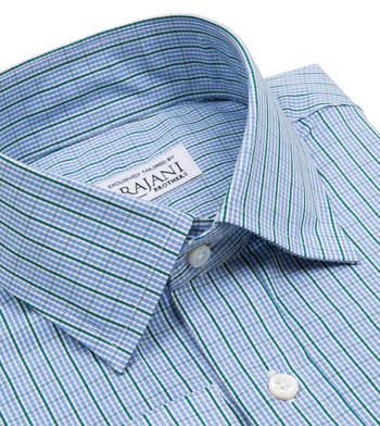 shirts cotton light blue and kelly green graph light blue green check
