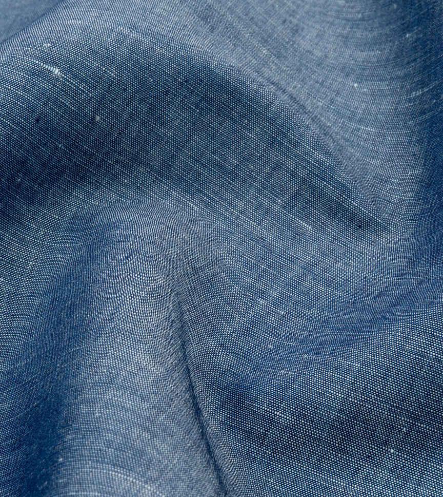 Navy Solids Cotton Linen Shirt by Thomas Mason Product Image