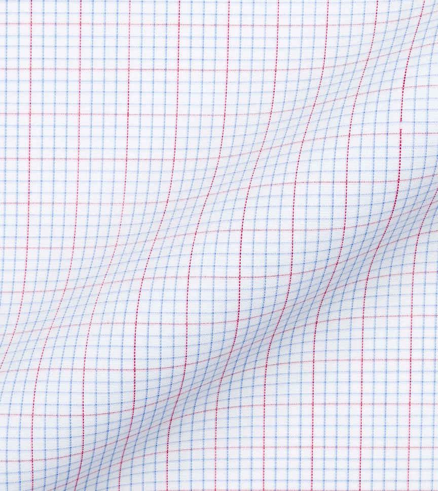 Red L Blue Fancy Checks Shirt by Hemrajani Product Image