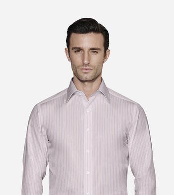 shirts cottons multicolor stripes on pink poplin