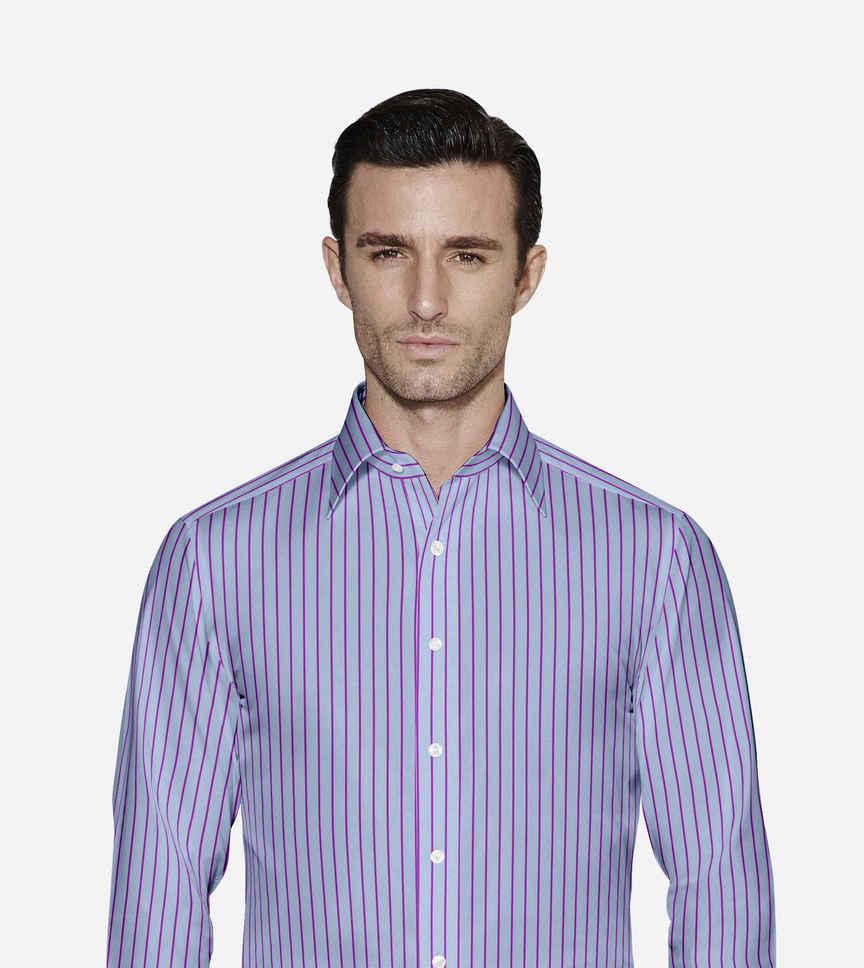 Purple Stripes on blue Poplin Light Blue by Alumo Product Image
