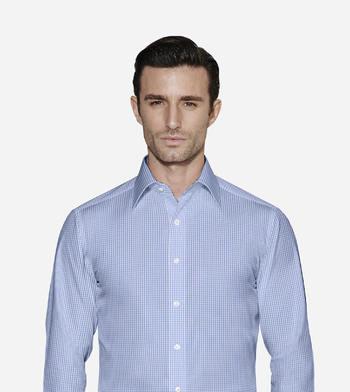 shirts cottons blue check poplin 1 2714
