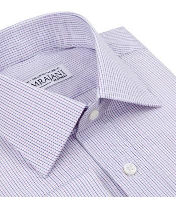 shirts cottons purple and blue checks on white poplin blue