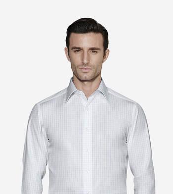 shirts cottons blue plaid poplin light