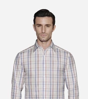 shirts cottons brown and navy checks poplin navy