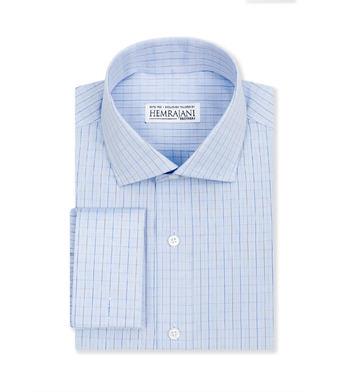 shirts cottons blue and tan check poplin 1 2852