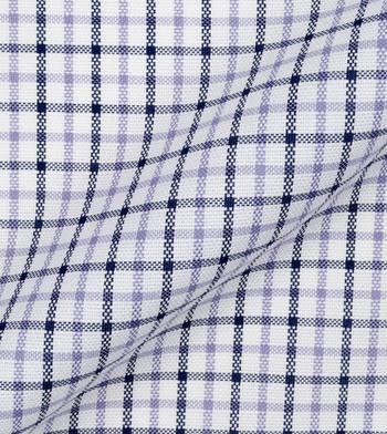 shirts cottons navy purple check poplin